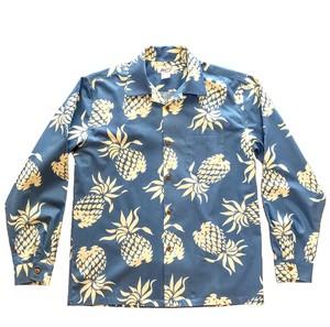 Mountain Men's 長袖オープンアロハシャツ Pineapple Sax Blue