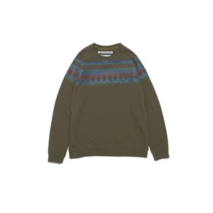 ROUND YOKE MULTI JACQUARD PRINTED SWEAT - KHAKI