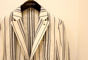 LARDINI Herringbone-stripe Shirt Jacket