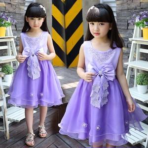 ★子供ドレス★ 花柄と大きなリボンがエレガントなプリンセスドレス(2色)