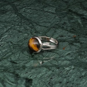 ROUND STONE RING SILVER 010