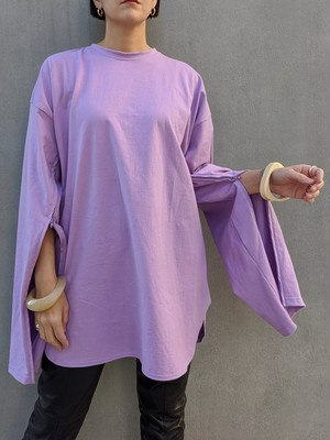 Sleeve Open Long Tee - PURPLE