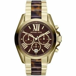 【2トーン】正規品 Michael Kors マイケルコース Bradshaw ブラッドショー 腕時計 レディース MK5696 ゴールド ステンレス べっ甲 クロノグラフ
