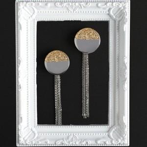 大きな鏡◯金箔の SVタッセルピアスorイヤリング
