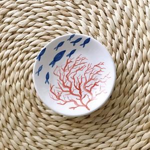 マヨリカ焼き 丸皿(小) 泳ぐお魚とサンゴ