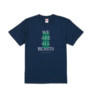 """We Are All Beasts"" T-Shirt / Indigo × White × Green"