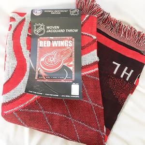 デトロイト レッドウィングス DETROIT RED WINGS NHL ジャガード スローブランケット 織物 ブランケット アメリカ製 USA製 2898