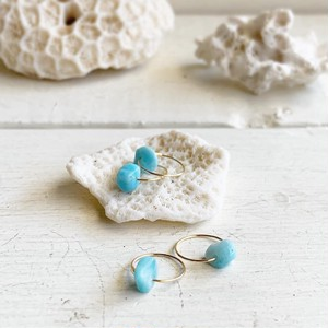 Larimar 18K hoop earrings