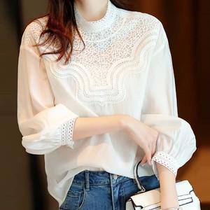 【トップス】ファッションスタンドネック透かし彫りパフスリーブプルオーバーシャツ41495587