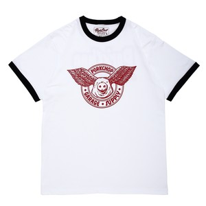 WING PORK RINGER TEE/WHITE×RED