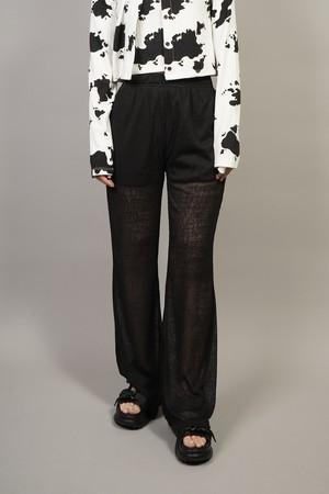 SEE-THROUGH FLARE PANTS  (BLACK) 2104-81-38