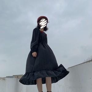 【ワンピース】レトロストリート系アップリケスクエアネッワンピース