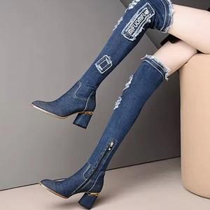 denim knee high boots
