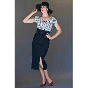 40's ボーグ・ペンシル・スカート ◆ ブラック・ハイウエストXS