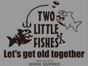 Two Little Fishes 二匹の小さな魚 一緒に歳をとろう fish 骨 釣り fishing フィッシング 熱帯魚 ステッカー シール デカール カッティングシート 車に貼れる 黒 ブラック 【sti05211blk】