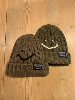 KIDS&ADULT:NEEDLE WORKS STANDARD【ニードルワークススタンダード】Smile Knit cap(カーキ,ブラウン/S〜Lサイズ)ニコちゃん、スマイル、ニット帽