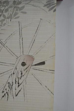 アンティーク絽の長襦袢☆アイボリー水車と草花のシルエット