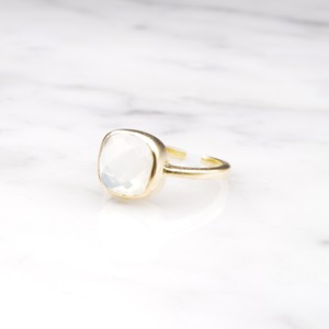 SQUARE CHECKER CUT STONE RING GOLD 018