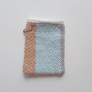 送料込み 手織り パスケース Suicaケース ヘリンボーン織り mix