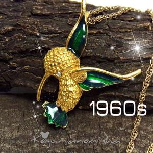 USAヴィンテージ★ハミングバード ラインストーン エナメル ヴィンテージ ペンダント 1960s ハチドリ 小鳥