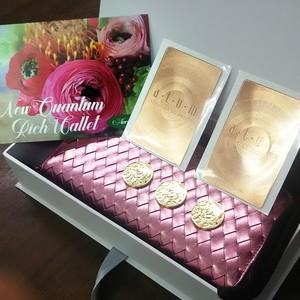 新クォンタムリッチ財布(メタリックピンク)太陽のカードピンクゴールド版2枚+MIKUコイン3個フルセット