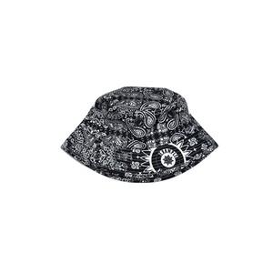 PAISLEY PATTERN NYLON BUCKET HAT / BLACK&WHITE