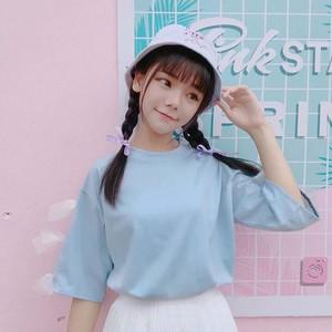 【トップス】日系少女スウィート学園風リボン無地短袖Tシャツ