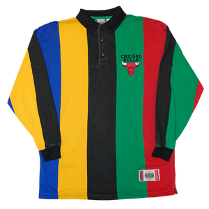 """""""Chicago Bulls"""" Vintage 90s Stripe Rugby Shirt Used"""