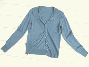 ◆天然灰汁発酵建て 本藍染◆ ウール&シルクのクルーネックカーディガン♡