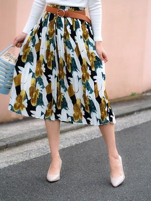 Retro Flower Pleats Skirt