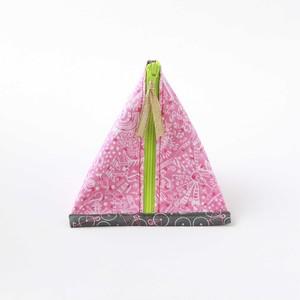三角ポーチ【楽書き柄ピンク】内側カラフルビー玉柄