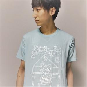 イラストTシャツ ライトブルー×ホワイト