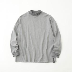 MOCK NECK LONG SLEEVE T-SHIRT - GRAY