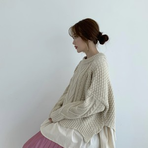 layered cable knit / milk (即納)