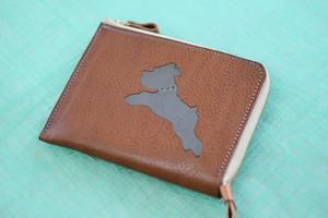 L字型ミニ財布 キャメル✖シュナグレー(首元スワロ付き)