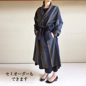 亀田縞 男女で着る羽織コート 【紺大柄】 KIMONO-COAT man & woman