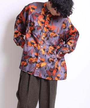 Back pleats flower shirt -gray<LSD-BA3S1>