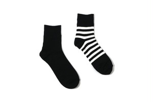 メンズソックス decka de- 07.2 REVERSIBLE SOCKS PLAIN×STRIPS