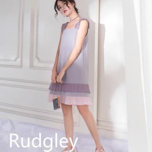 パウダーパープル  ガールストラップ ステッチ ドレス