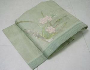 【夏帯】紗 水仙 名古屋帯 正絹 黄緑色 137