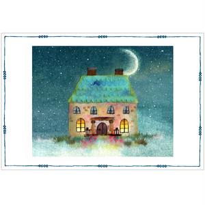 『プルシアンブルー』 青の世界で三日月が照らすかわいいお家 神秘的でありながら癒しの月夜のイラスト ポストカード