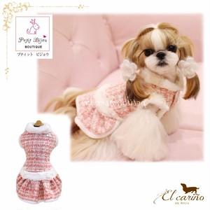 8。PetitBijou【正規輸入】犬 服 ドレス ワンピース ピンク 秋 冬物