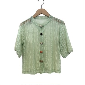 Random Button Sheer Cardigan   Color : Light Green