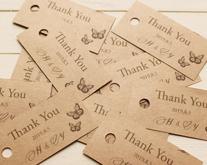 サンキュータグ ギフトタグ クラフト紙 ブライダルやハンドメイド雑貨に 20枚セット【tag-011】