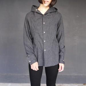 "Cotton Frannel Hooded Shirts ""FUNUIL"" チャコール   yksh-20505"