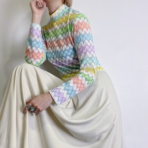 70s rainbow long dress【101】