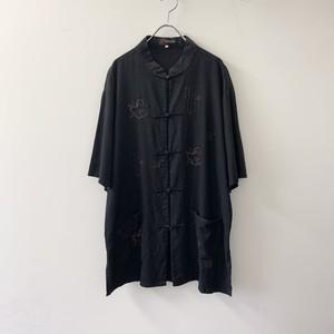 チャイナシャツ ブラック size XXXL メンズ 古着