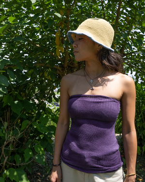夏はチューブトップで♪ ログウッド 染め ロング腹巻き コットンシルク / 冷え対策で免疫力をアップ!