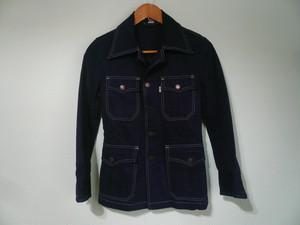 USビンテージ Levis リーバイス 70s 細身シルエット カバーオール シャツジャケット ネイビー / サイケ OLD 60s ピーチスキン