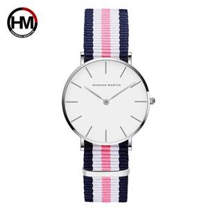 クラシックローズレッドダークブルーナイロンストラップジャパンクォーツムーブメントファッションカジュアル腕時計生地薄いキャンバス腕時計女性用CB36-Y2